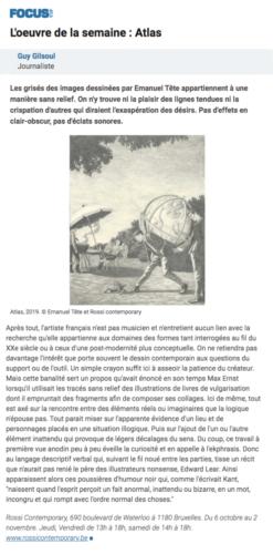 Guy Gilsoul, L'oeuvre de la semaine Atlas, in Focus le Vif